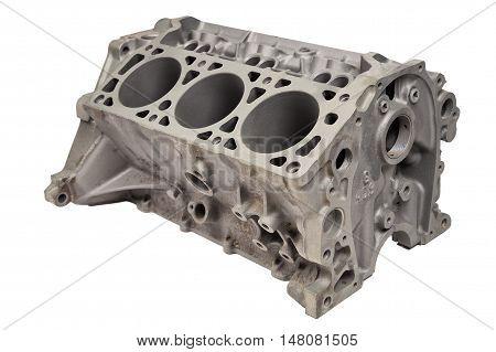 Internal combustion engine after powder coating on white background