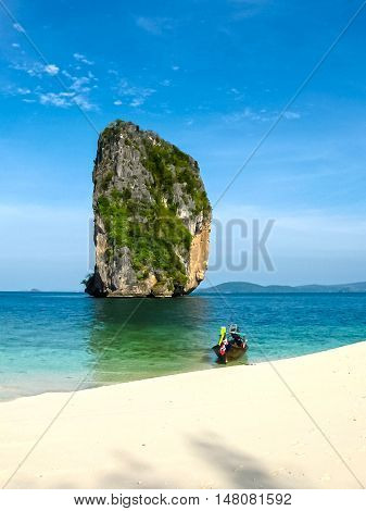 The blurred image of tropical landscape. Railay beach Krabi Thailand. View of the rock and beach