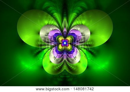 Abstract exotic flower on white background. Symmetrical pattern in bright green blue pink and yellow colors. Fantasy fractal design for posters wallpapers or t-shirts. Digital art. 3D rendering.