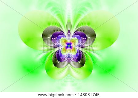 Abstract exotic flower on white background. Symmetrical pattern in bright green grey and purple colors. Fantasy fractal design for posters wallpapers or t-shirts. Digital art. 3D rendering.