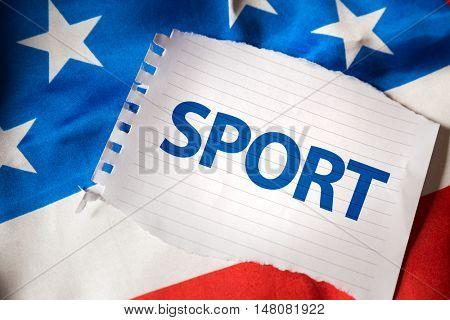 Sport on notepaper and the US flag