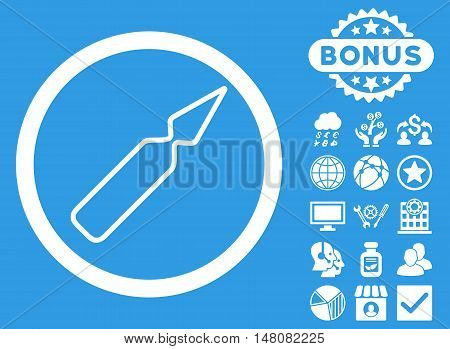 Empty Ampoule icon with bonus symbols. Vector illustration style is flat iconic symbols white color blue background.
