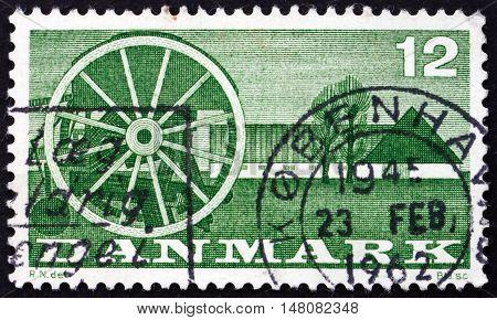 DENMARK - CIRCA 1960: a stamp printed in Denmark shows Seeder and Farm circa 1960