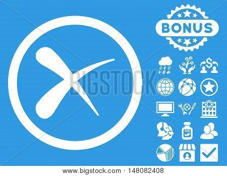 Erase icon with bonus symbols. Vector illustration style is flat iconic symbols white color blue background.