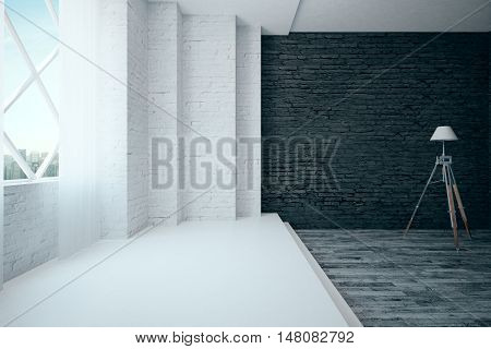Modern white and black brick interior with wooden and concrete flooring window with city view and floor lamp. 3D Rendering