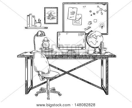 Creative office workplace sketch on white background