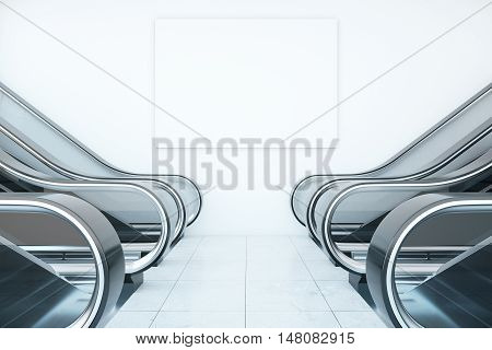 Interior with escalators and blank billboard on white concrete wall. Mock up 3D Rendering