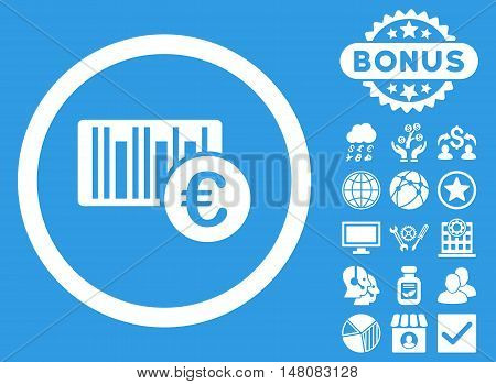 Euro Barcode icon with bonus elements. Vector illustration style is flat iconic symbols white color blue background.