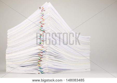 Pile Overload Paperwork On White Table