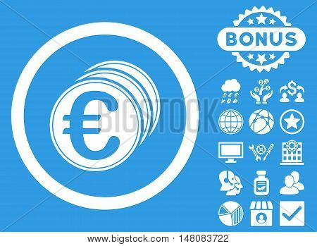 Euro Coins icon with bonus symbols. Vector illustration style is flat iconic symbols white color blue background.