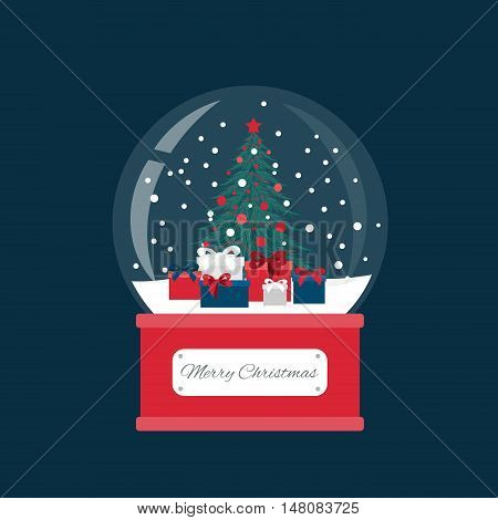 Snow globe and Christmas fir tree decorated with balls and garland. Gifts box under spruce.