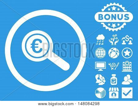 Euro Financial Audit icon with bonus symbols. Vector illustration style is flat iconic symbols white color blue background.