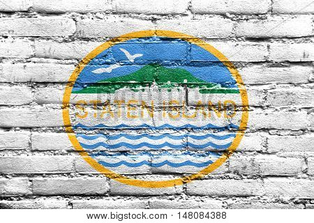 Flag Of Staten Island, New York, Usa, Painted On Brick Wall
