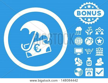 Euro Financial Umbrella icon with bonus elements. Vector illustration style is flat iconic symbols white color blue background.