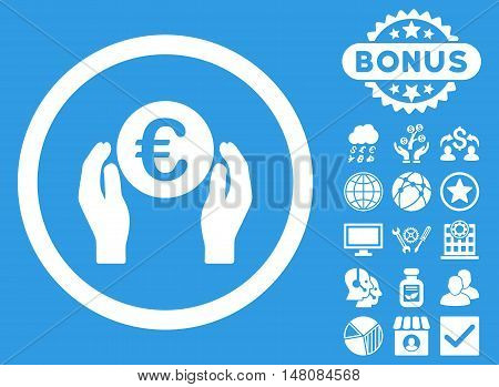 Euro Insurance Hands icon with bonus pictures. Vector illustration style is flat iconic symbols white color blue background.