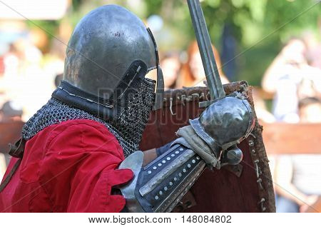 A Medieval Knight During The Battle Close Up