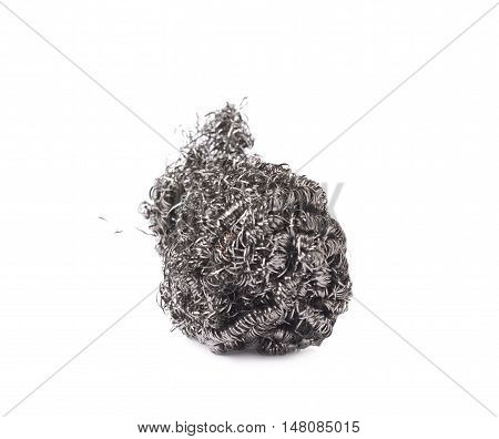 Kitchen old used metal sponge isolated over white background