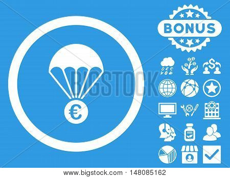 Euro Parachute icon with bonus pictogram. Vector illustration style is flat iconic symbols white color blue background.