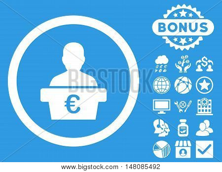 Euro Politician icon with bonus pictogram. Vector illustration style is flat iconic symbols white color blue background.