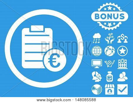Euro Prices icon with bonus images. Vector illustration style is flat iconic symbols white color blue background.