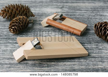 Creative wooden usb stick on dark background. Wooden USB flash drives for photographer on white and black table. With fir cone