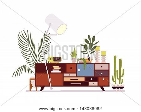Retro interior with a sideboard bookcase against white background. Cartoon vector flat-style illustration