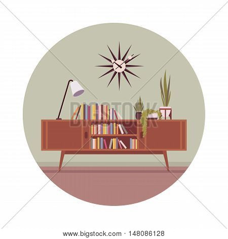 Retro interior with a credenza and table lamp in a grey circle. Cartoon vector flat-style illustration