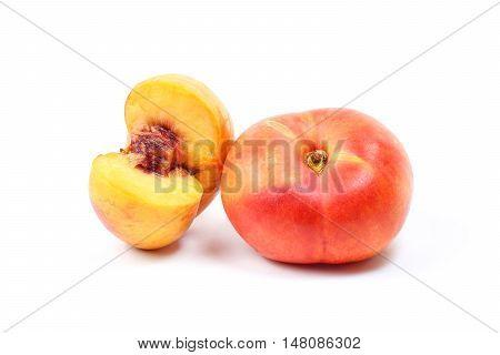 Donut Saturn nectarine peach on white background