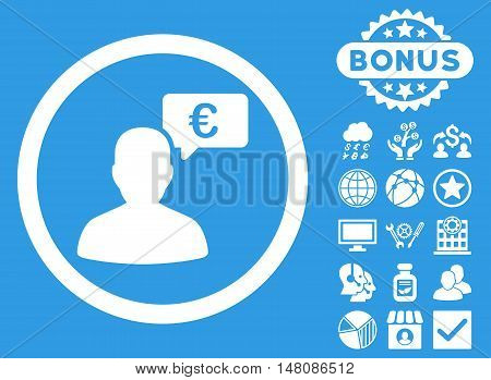 European Person Opinion icon with bonus images. Vector illustration style is flat iconic symbols white color blue background.
