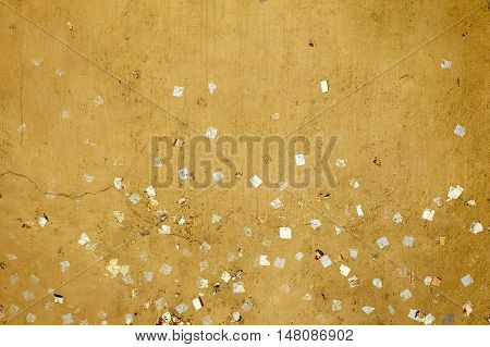 Abstract Gold sheets on Buddha or wall gold Background