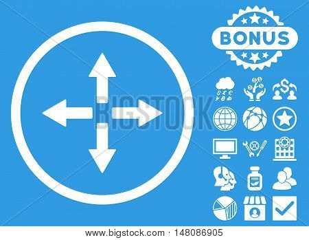 Expand Arrows icon with bonus elements. Vector illustration style is flat iconic symbols white color blue background.