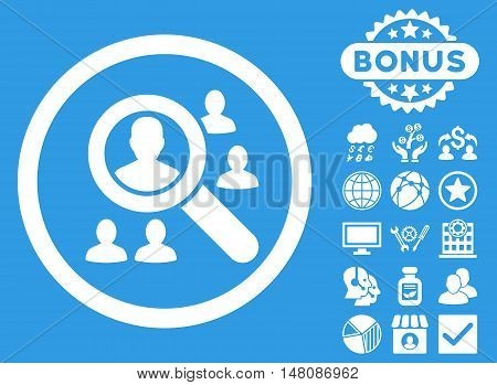 Explore Patients icon with bonus pictogram. Vector illustration style is flat iconic symbols white color blue background.
