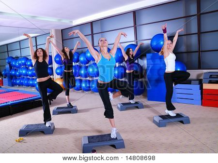 group of girls stepping in a fitness club