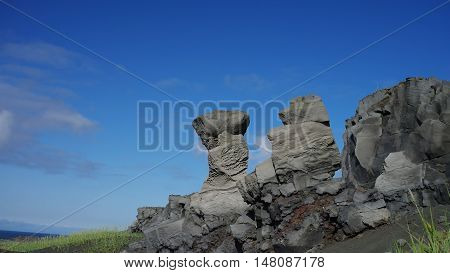 Rock landscape near the bridge between continents Reykjanes