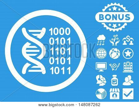 Genetical Code icon with bonus pictogram. Vector illustration style is flat iconic symbols white color blue background.