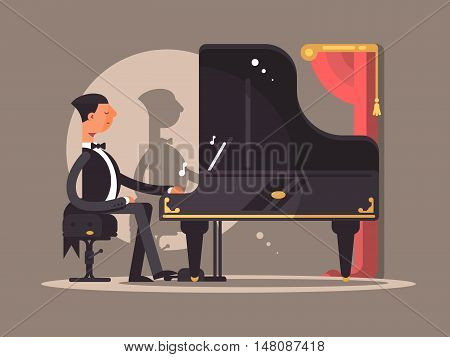 Pianist performs at concert. Famous composer performance. Vector flat illustration