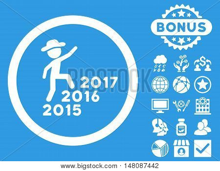Gentleman Steps Years icon with bonus design elements. Vector illustration style is flat iconic symbols white color blue background.