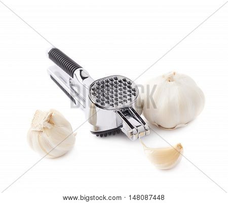 Metal gray garlic masher isolated over the white background