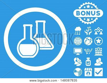 Glass Flasks icon with bonus symbols. Vector illustration style is flat iconic symbols white color blue background.