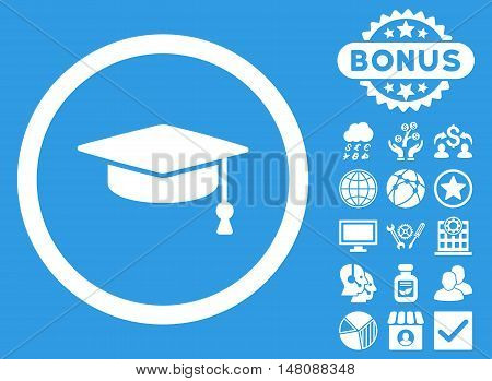 Graduation Cap icon with bonus pictogram. Vector illustration style is flat iconic symbols white color blue background.