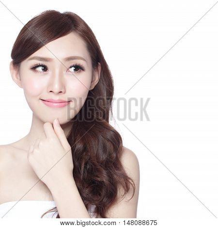 beauty woman looks at copy space with healthy skin and hair isolated on white background asian beauty