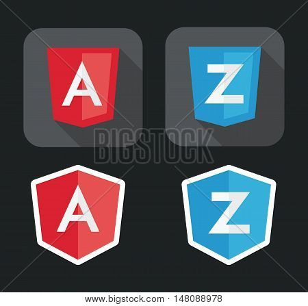 vector illustration of light red and blue shield with A Z letters for javascript framework on the screen isolated on black background