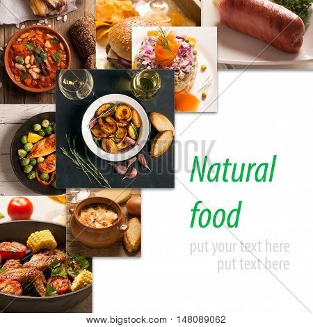 Squaer collage of different pictures of natural food with copy space