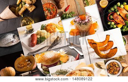 Collage of different pictures of natural food on the black and white wooden tables