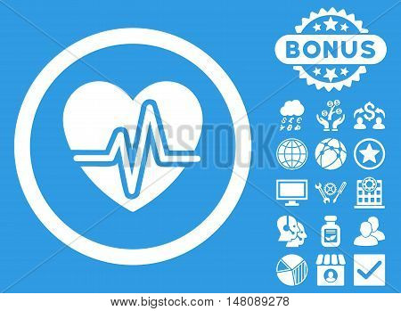 Heart Diagram icon with bonus pictogram. Vector illustration style is flat iconic symbols white color blue background.