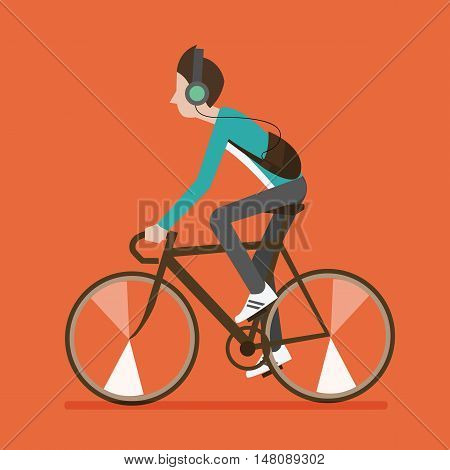 vector illustration of a boy riding bicycles isolated in orange background listening musicside view