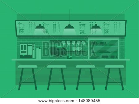 vector illustration design of coffee shopcoffee barcounter Green monotone color backgroundflat style