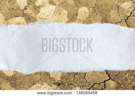 Ragged Piece Of Paper On Cracked Soil