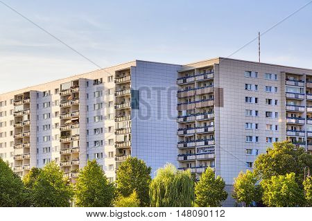 public housing in Berlin during sunset in summer