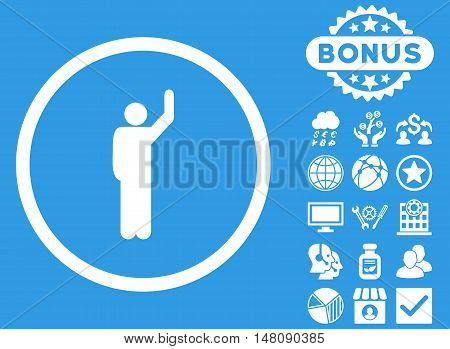 Hitchhike icon with bonus pictures. Vector illustration style is flat iconic symbols white color blue background.